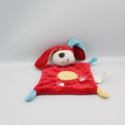 Doudou plat chien rouge jaune bleu KIMBALOO
