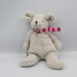 Doudou souris grise écharpe rose BABY NAT