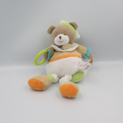 Doudou et compagnie pantin ours Tino blanc beige vert orange ALINEA