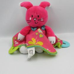 Doudou lapin rose vert Wonder Maman LGRI
