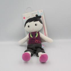 Doudou poupée garçon noir blanc rose SUCRE D'ORGE