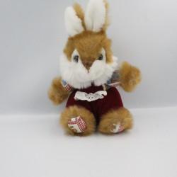 Peluche lapin marron rouge blanc motifs CP
