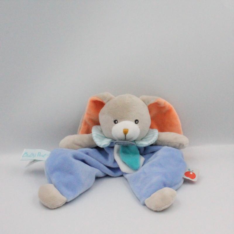 Doudou plat lapin gris bleu blanc orange Pom BABY NAT