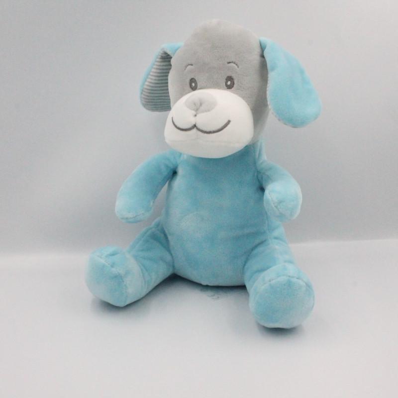 Doudou chien bleu gris rayé TOM & KIDDY TOMKIDS