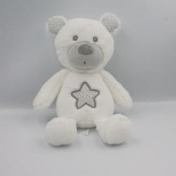 Doudou ours blanc gris étoiles SAUTHON