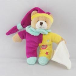Mini Doudou ours rose jaune bleu étoile BABY NAT