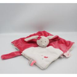 Doudou plat lapin rose beige blanc Anna et Pili NOUKIE'S