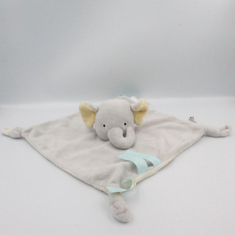Doudou plat éléphant gris blanc jaune TOMMEE TIPPEE