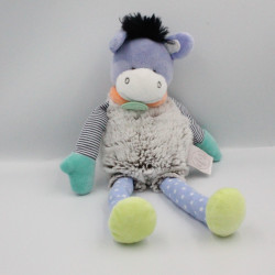 Doudou et compagnie ane gris vert bleu mauve Choupidoudou