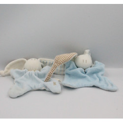 Doudou plat lapin bleu blanc beige KEPTIN JR