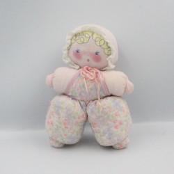 Ancienne poupée chiffon rose fleurs COROLLE