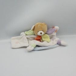Doudou et compagnie marionnette ours blanc col pétale mouchoir Nuage sans bonnet