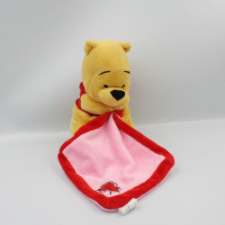 Doudou Winnie l'ourson mouchoir rose rouge DISNEY PTS