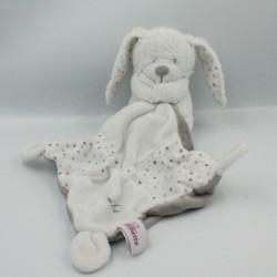 Doudou lapin blanc gris pois avec mouchoir POMMETTE
