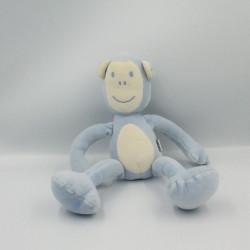 Doudou singe bleu blanc DPAM