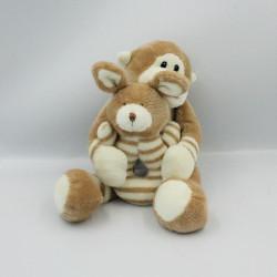 Doudou singe écru beige hochet lapin AJENA