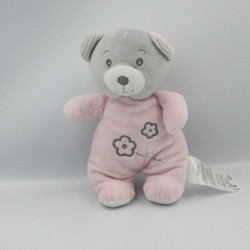 Doudou ours rose gris fleurs TOM & KIDDY TOMKIDS