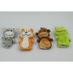 Petites marionnettes à doigts doudou ane singe grenouille tigre BABYLOVE