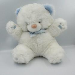 Doudou Peluche ours blanc bleu BOULGOM 38 cm