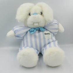 Grande peluche lapin blanc rayé bleu Pampers 42 cm
