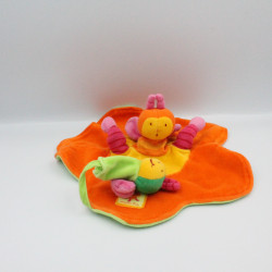 Doudou plat orange fleur louna l'abeille MOULIN ROTY