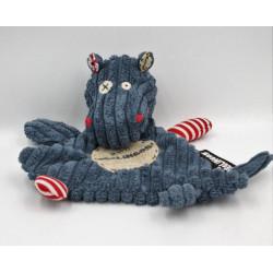 Doudou plat hippopotame bleu rouge Hippipos DEGLINGOS