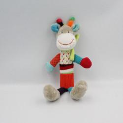 Doudou baton pouet girafe grise rouge bleu pois NICOTOY