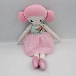 Doudou poupée chiffon rose bleu blanc ZEEMAN