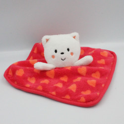 Doudou plat chat ours rouge orange coeurs ORCHESTRA PREMAMAN