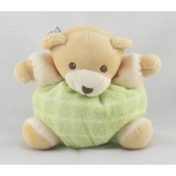 Doudou ours boule éponge ecru vert Nounours