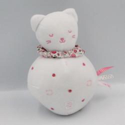 Doudou boule chat blanc rose premier Major SERGENT MAJOR