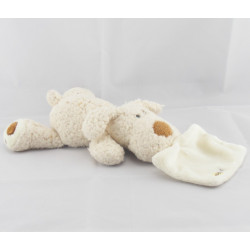 Doudou chien blanc avec doudou mouchoir BABY NAT