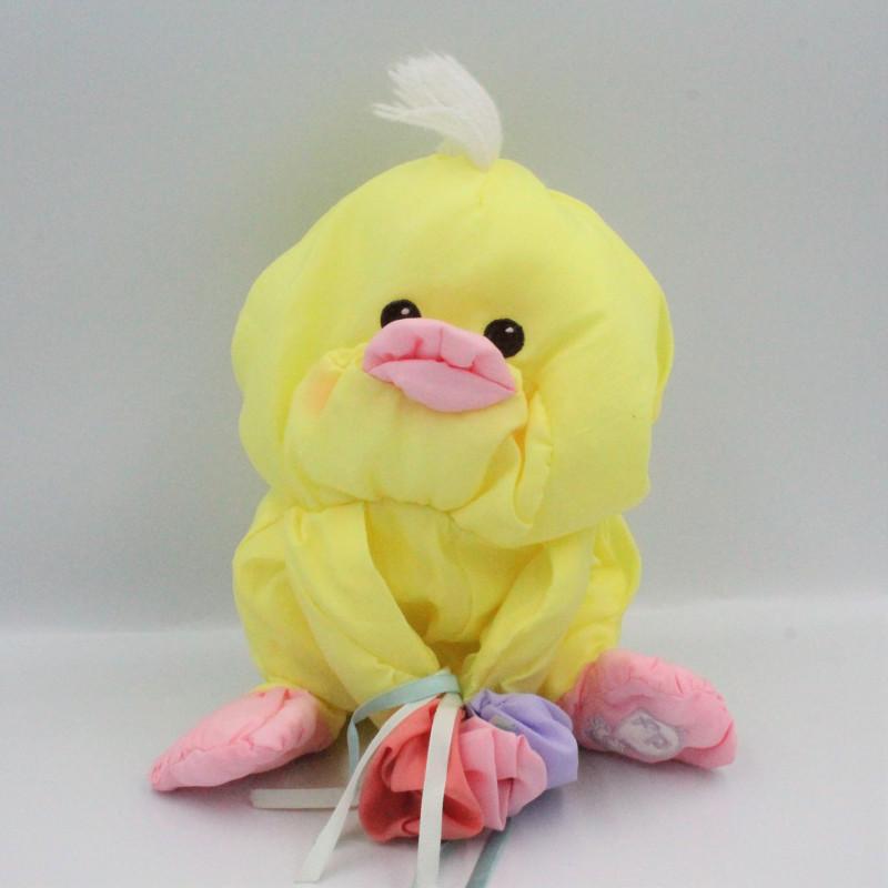 Peluche Puffalump poussin canard jaune fleurs FISHER PRICE 1988