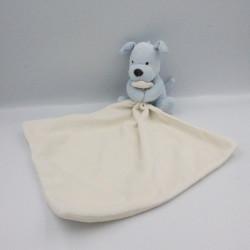 Doudou chien bleu mouchoir blanc