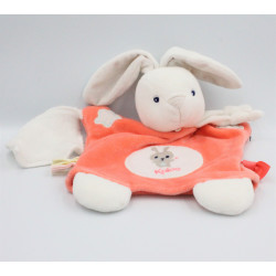Doudou marionnette lapin orange blanc mouchoir KALOO