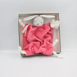 Doudou plat lapin plume gris rose framboise Lapinou KALOO NEUF