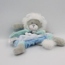 Doudou et Compagnie plat lion bleu gris blanc attache tétine