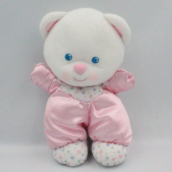 Ancien doudou peluche ours blanc rose satin FISHER PRICE 1992
