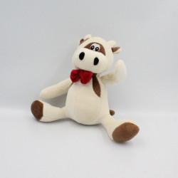 Doudou vache blanche marron noeud rouge GIFTOYS