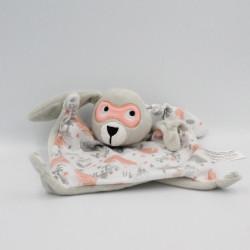 Doudou plat lapin gris blanc rose feuilles tigres masque IKKS