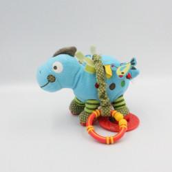 Doudou dinosaure bleu vert étiquettes hochet anneau NICOTOY