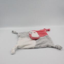 Doudou plat oiseau pingouin rose blanc gris SIPLEC
