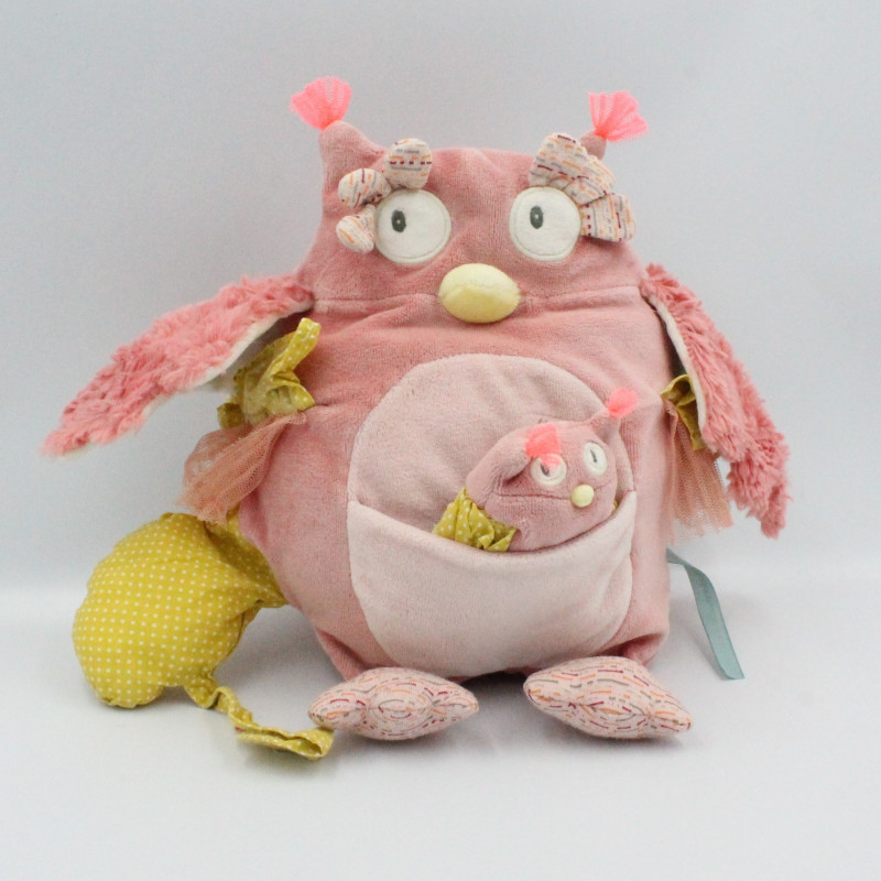 Doudou chouette rose Mademoiselle et Ribambelle MOULIN ROTY