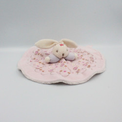Doudou plat rond lapin rose mauve fleurs KALOO