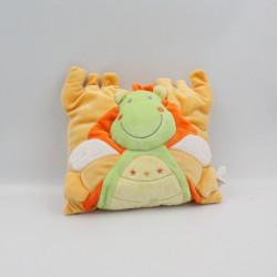 Doudou coussin dragon vert jaune orange NICOTOY