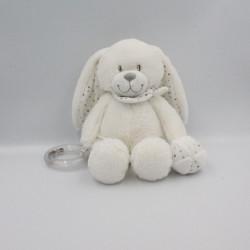 Doudou lapin blanc gris pois hochet balle POMMETTE