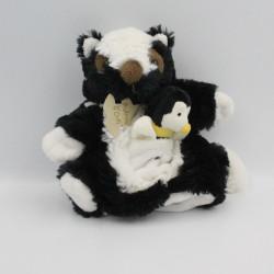 Doudou plat marionnette putois moufette noir blanc abeille HISTOIRE D'OURS