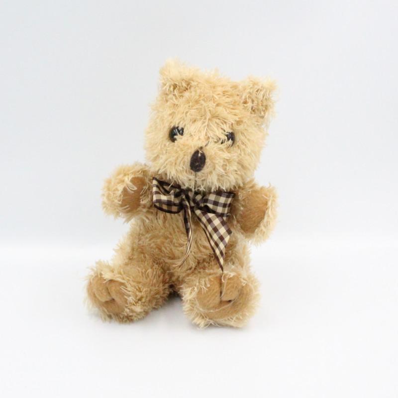 Doudou peluche ours beige noeud carreaux INSPIRION GMBH