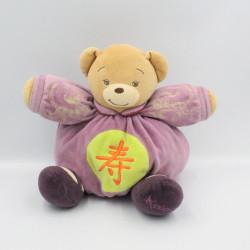 Doudou ours violet vert motif chinois KALOO