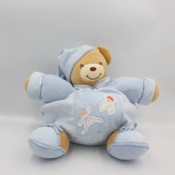 Doudou patapouf ours bleu rayé laine enfants KALOO